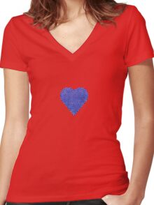 halftone heartblue Women's Fitted V-Neck T-Shirt