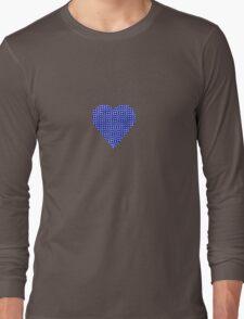halftone heartblue Long Sleeve T-Shirt