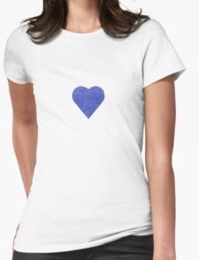 halftone heartblue Womens Fitted T-Shirt