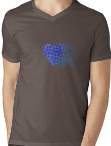 halftone heartblue fade Mens V-Neck T-Shirt
