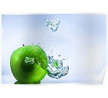 Green Apple and Bubbles Poster