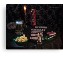 Solitaire , Beer and Popcorn Canvas Print