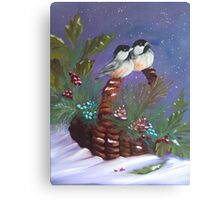 Chickadees on a basket Canvas Print