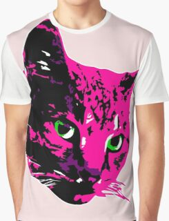 Electric Pink Tabby Face Graphic T-Shirt