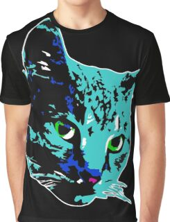 Electric Blue Tabby Face Graphic T-Shirt