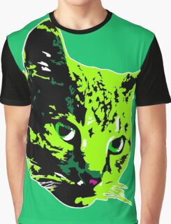 Electric Green Tabby Face Graphic T-Shirt