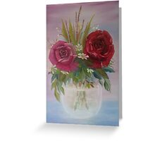 Roses in a Glass Bowl Greeting Card