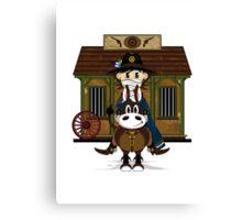 Cute Cowboy Sheriff at the Jailhouse Canvas Print