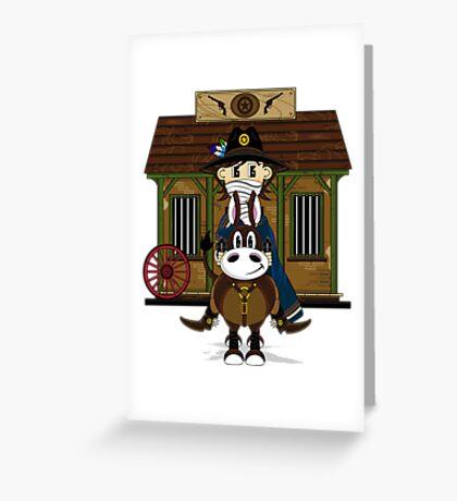 Cute Cowboy Sheriff at the Jailhouse Greeting Card