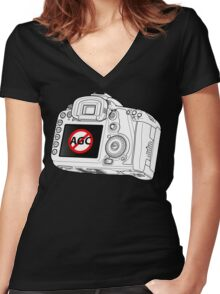 Canon 7D with AGC disable Women's Fitted V-Neck T-Shirt