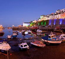 Brixham Devon, Inner Harbour by Night by Kerry Dunstone