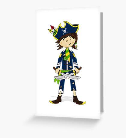 Cute Little Pirate Captain Greeting Card