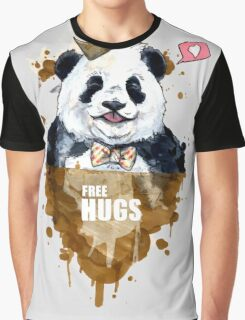 Free Hugs Panda Graphic T-Shirt