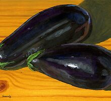 Plump, Purple Eggplants by bernzweig