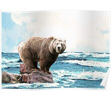 Brown Bear on the Open Ocean Poster
