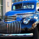 46 Chevrolet Pickup Truck Blue on Black by Ron Hannah