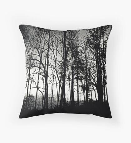 Fog Mist Darkness Forest Rain Trees Throw Pillow