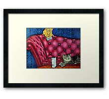 Cats playing X Box Framed Print