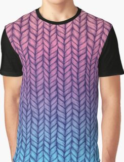 Chunky Knit Pattern in Pink, Blue & Purple Graphic T-Shirt