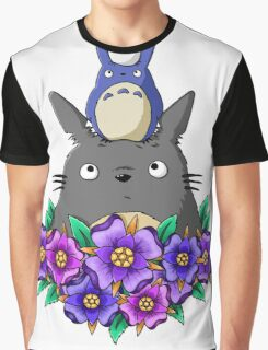 Totoro Tower and Flowers Graphic T-Shirt
