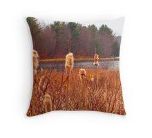 Cat Tails along Lake Throw Pillow