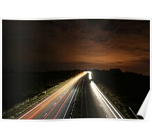 Long Exposure Highway at Night Poster
