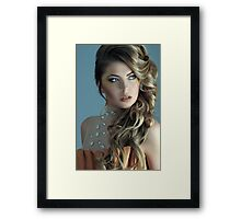 Portrait of 19-th century dressed model at the studio  Framed Print