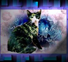 Tortoise shell cat by blue flowers by ♥⊱ B. Randi Bailey