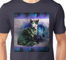 Tortoise shell cat by blue flowers Unisex T-Shirt