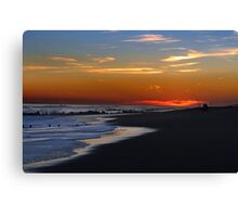Fishing at sunset time at empty ocean Canvas Print