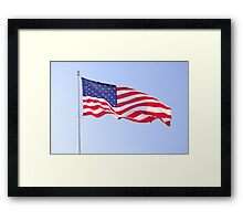 red white and blue on blue Framed Print