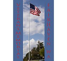 new veterans memorial flagpole, fairhaven, washington, usa Photographic Print