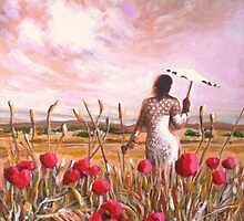Young lady in field of poppies by Dan Wilcox