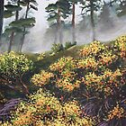 Yellow Flowers - Morning Mist by Dan Wilcox