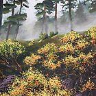 Yellow Flowers - Morning Mist by Dan Wilcox