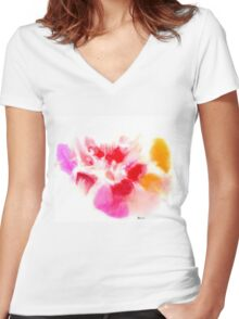 The Owl In The Palm of Her Hand Women's Fitted V-Neck T-Shirt