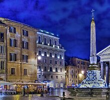 Pantheon square in Rome by night by mel365