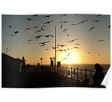 Sunset at Brighton Pier Poster
