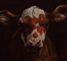 Calf Cow Pastel Painting by Sue Deutscher
