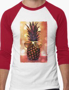 Pineapple with Grill Glasses Men's Baseball ¾ T-Shirt