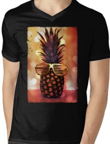 Pineapple with Grill Glasses Mens V-Neck T-Shirt