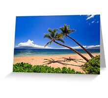 Palm trees on a beach in Hawaii Greeting Card