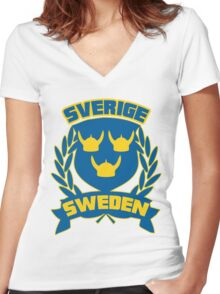 Sweden Women's Fitted V-Neck T-Shirt