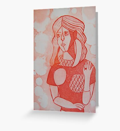 Girl in the Mirror Inspired Red Version Greeting Card