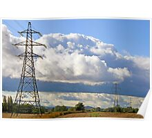Pylons in the countryside Poster