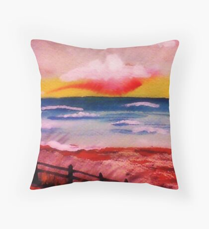 On the beach,,,, watercolor Throw Pillow