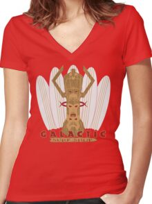 Galactic Surf Shop Women's Fitted V-Neck T-Shirt