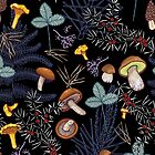 dark wild forest mushrooms by smalldrawing