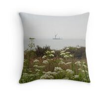 flower lined beach Throw Pillow