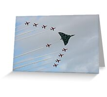Avro Vulcan Escorted by the Red Arrows Greeting Card